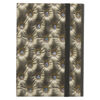 Gold n Gems Leather Upholstery Image Case For iPad Air