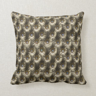 Gold n Gems Leather Upholstery Image Throw Pillow