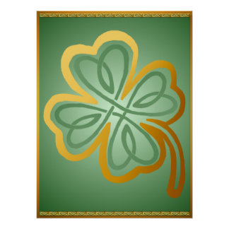Gold N Green Shamrock2 Poster