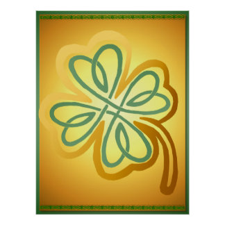 Gold N Green Shamrock Poster