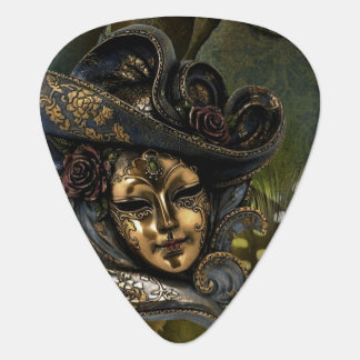 Gold N Olive Masquerade Carnival Mask Guitar Pick