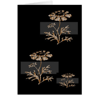 Gold n Silver Engraved Floral Black Beauty Card