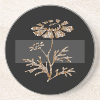 Gold n Silver Engraved Floral Black Beauty Coaster