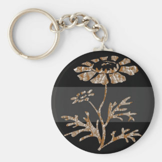 Gold n Silver Engraved Floral Black Beauty Keychain