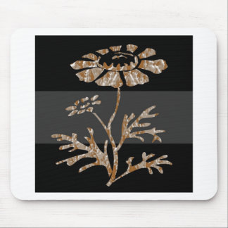 Gold n Silver Engraved Floral Black Beauty Mouse Pad