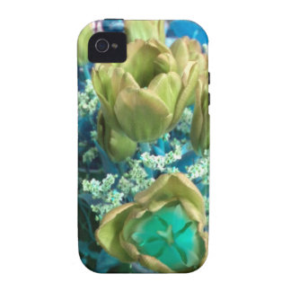 Gold N Teal Tulips iPhone 4 case