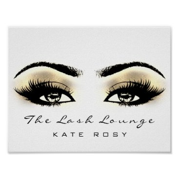 Art Themed Gold Name Makeup Artist Beauty Studio Lashes Brown Poster