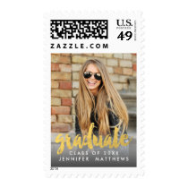 Gold Name Year Vertical Photo Graduation Postage