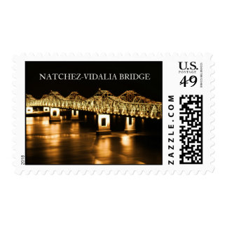 Gold - Natchez-Vidalia Bridge At Night Stamp