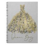 Gold Natural Grey Modern Botanical Dress Dream Big Notebook