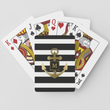 Beach Themed Gold Nautical Anchor Black White Stripes Monogram Playing Cards