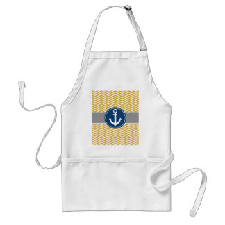 Gold Nautical Anchor Chevron Adult Apron