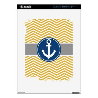 Gold Nautical Anchor Chevron Decal For iPad 3