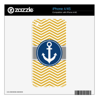 Gold Nautical Anchor Chevron iPhone 4S Decals