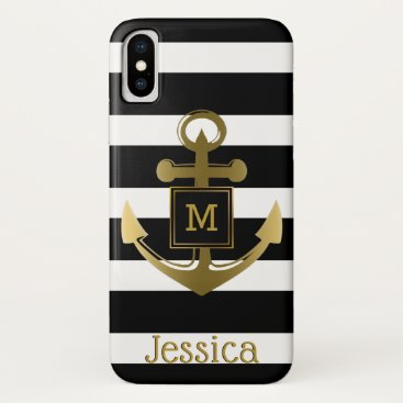 Beach Themed Gold Nautical Anchor Modern Black White Stripes iPhone X Case