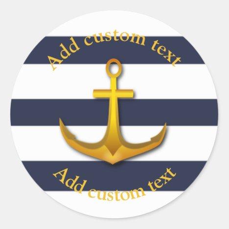 Gold Nautical Anchor Navy Blue & White Wedding Classic Round Sticker