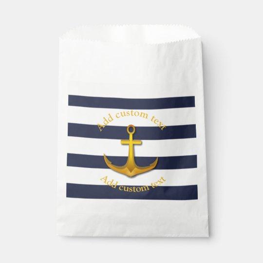 Gold Nautical Anchor Navy Blue White Wedding Favor Bag Zazzle