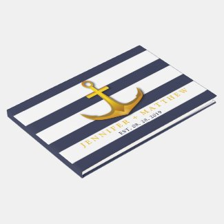 Gold Nautical Anchor Navy Blue & White Wedding Guest Book