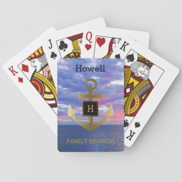Beach Themed Gold Nautical Anchor Ocean Family Reunion Cruise Playing Cards