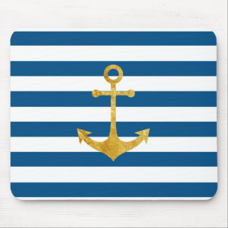 gold nautical anchor on blue stripes mouse pad
