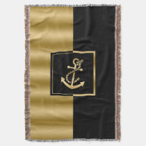 Gold Nautical Boat Anchor Modern Geometric Design Throw