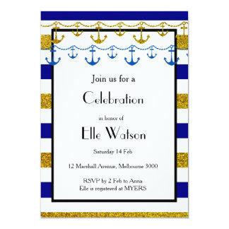 Gold Nautical Bridal Shower Invitation