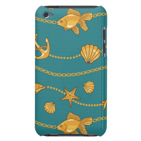 Gold Nautical Pattern Barely There iPod Case