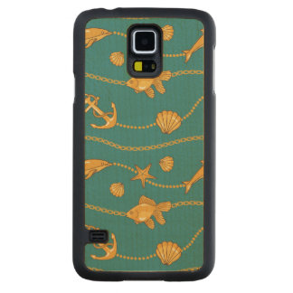 Gold Nautical Pattern Carved® Maple Galaxy S5 Slim Case