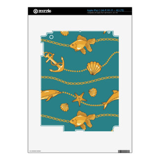 Gold Nautical Pattern Decals For iPad 3