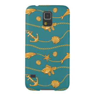 Gold Nautical Pattern Galaxy S5 Cases
