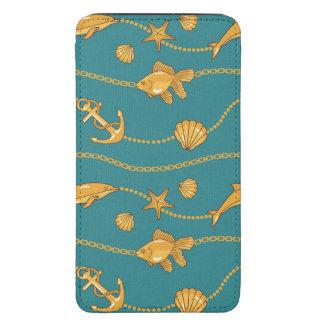Gold Nautical Pattern Galaxy S5 Pouch