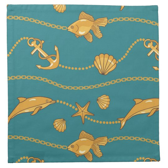 Gold Nautical Pattern Napkin