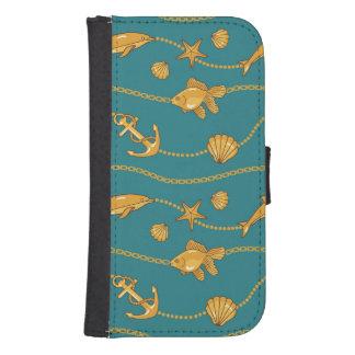 Gold Nautical Pattern Phone Wallet