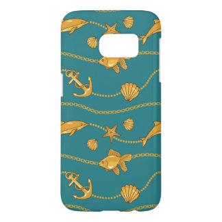 Gold Nautical Pattern Samsung Galaxy S7 Case
