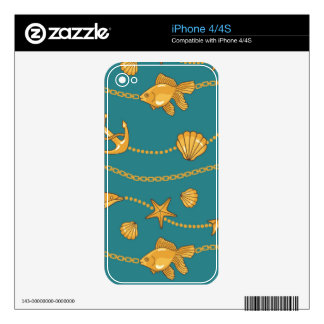 Gold Nautical Pattern Decals For The iPhone 4