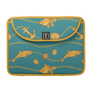 Gold Nautical Pattern Sleeve For MacBook Pro