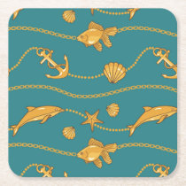 Gold Nautical Pattern Square Paper Coaster