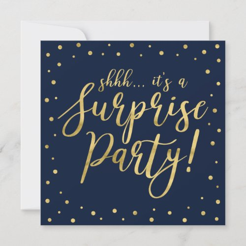 Gold  Navy  50th Surprise Birthday Party Invitation