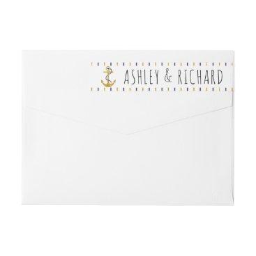 Beach Themed Gold, navy anchor stripes modern nautical wedding wrap around label