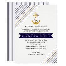 Gold, navy anchor, stripes nautical beach wedding invitation