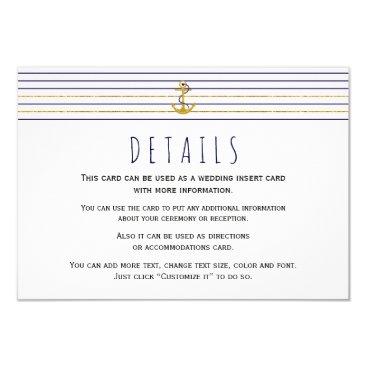 Beach Themed Gold navy anchor stripes nautical wedding insert card