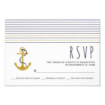 Beach Themed Gold, navy anchor, stripes nautical wedding RSVP Card