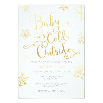 Gold & Navy Baby it's Cold Outside Shower Invite