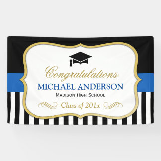 Gold Navy Black White Stripes Graduation Party Banner