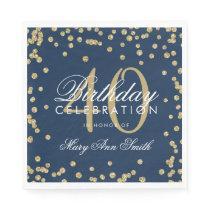 Gold Navy Blue 40th Birthday Glitter Confetti Napkin