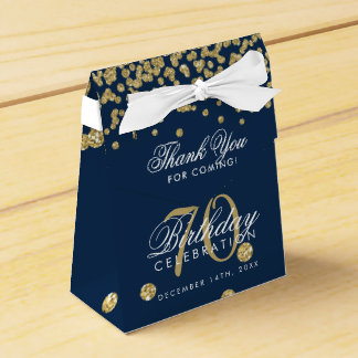 Gold Navy Blue 70th Birthday Thank You Confetti Favor Box