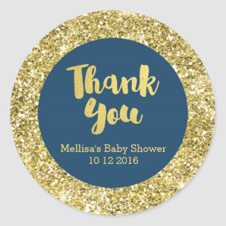 Gold Navy Blue Baby Shower Thank You Favor Sticker