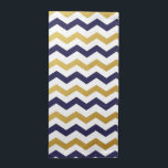 """Gold &amp; Navy Blue Chevron Pattern Cloth Napkins<br><div class=""""desc"""">Simple and elegant,  add a splash of color to you kitchen,  kitchen table or dining room table with these Gold &amp; Navy Blue Chevron Pattern Cloth Napkins.</div>"""