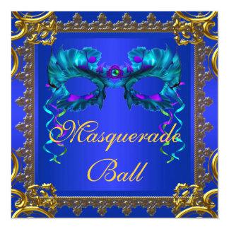 Gold Navy Blue Cobalt Blue Mask Masquerade Ball Card