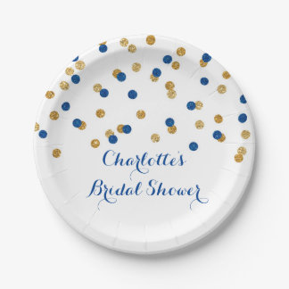 Gold Navy Blue Confetti Bridal Shower Plate